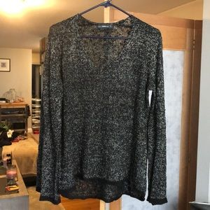 Zara Black and Metallic Gold V Neck Sweater